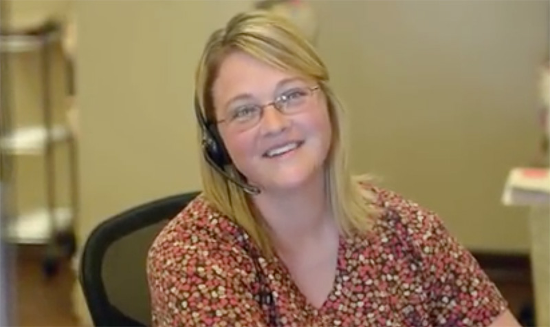 smiling woman receptionist
